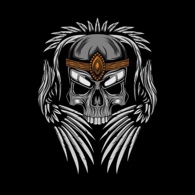 Coroa de caveira com ilustração vetorial de asas Vetor Premium