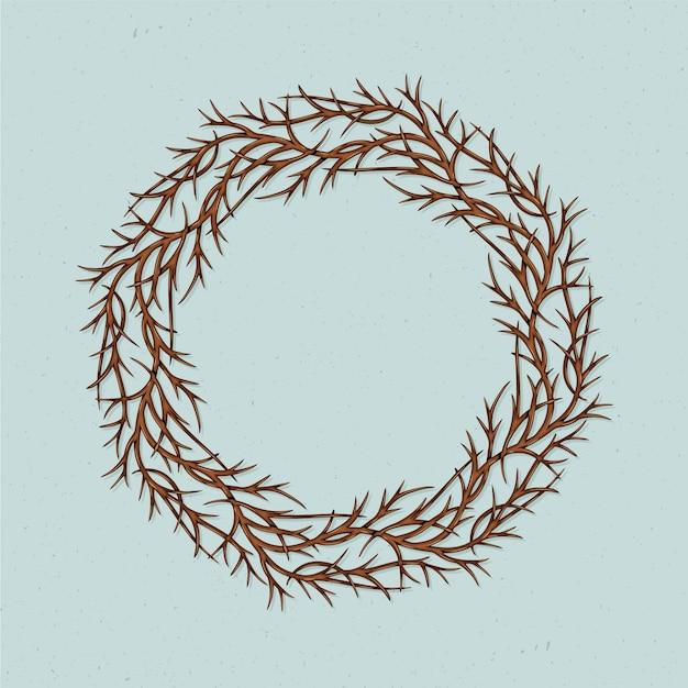 Coroa de espinhos desenhada mão realista Vetor grátis