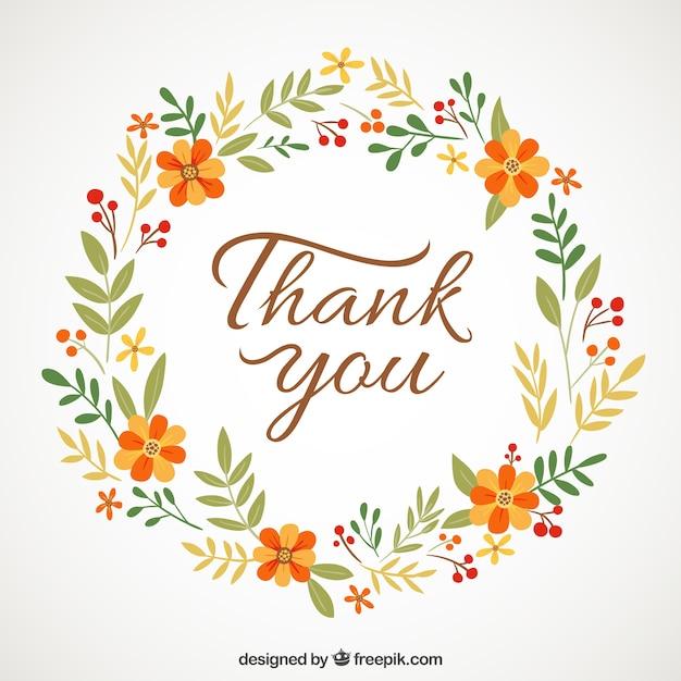 """coroa de flores com """"obrigado"""" mensagem Vetor grátis"""