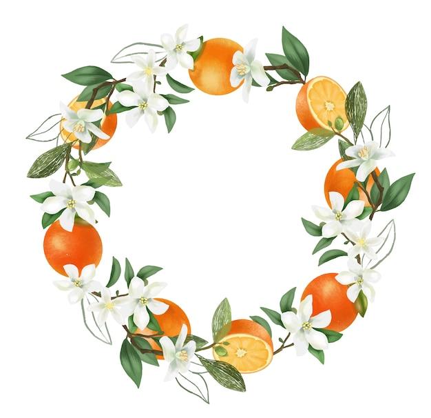 Coroa de flores desenhadas à mão em ramos de laranjeira em flor, flores de laranjeira e laranjas Vetor Premium