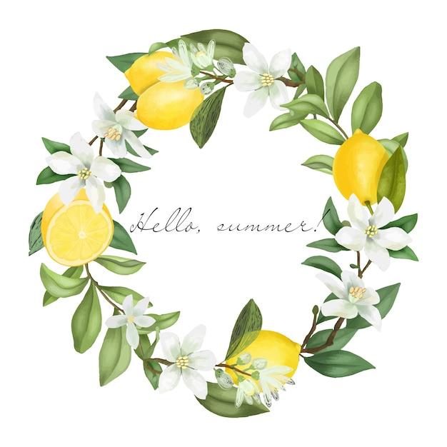 Coroa de flores desenhadas à mão, ramos de árvores de limão florescendo, flores de limão e limões Vetor Premium