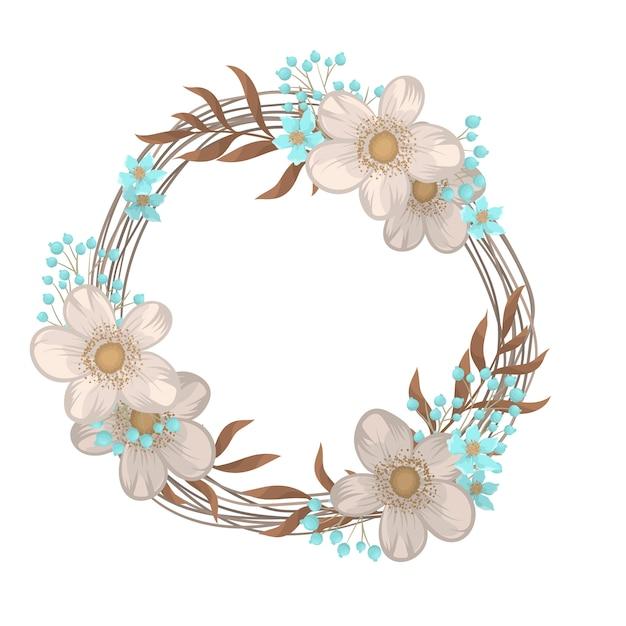 Coroa de flores desenho quadro de círculo com flores Vetor grátis