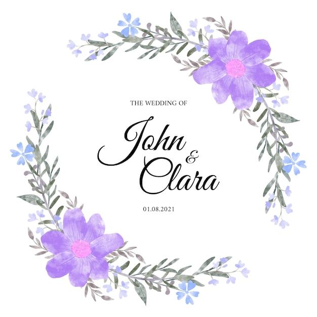Coroa de flores em aquarela de flores cor de rosa Vetor Premium