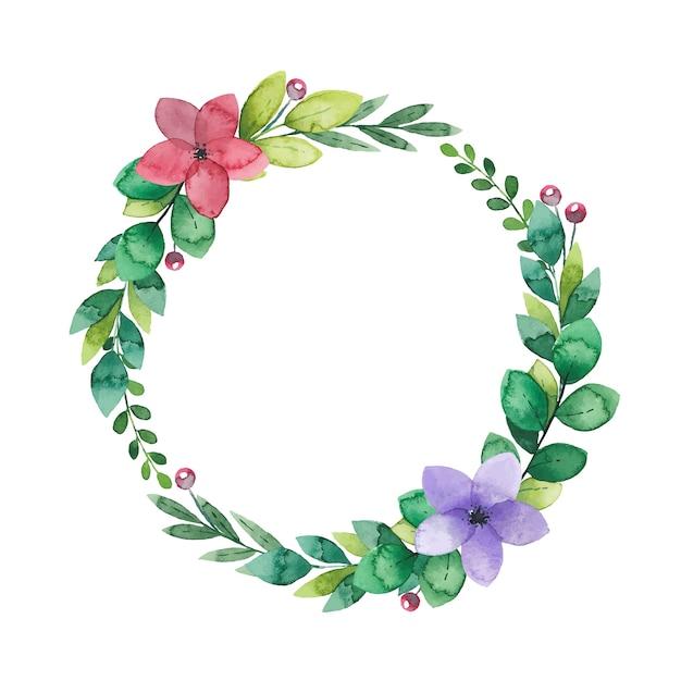 Coroa de flores em aquarela de ramos verdes e flores Vetor Premium