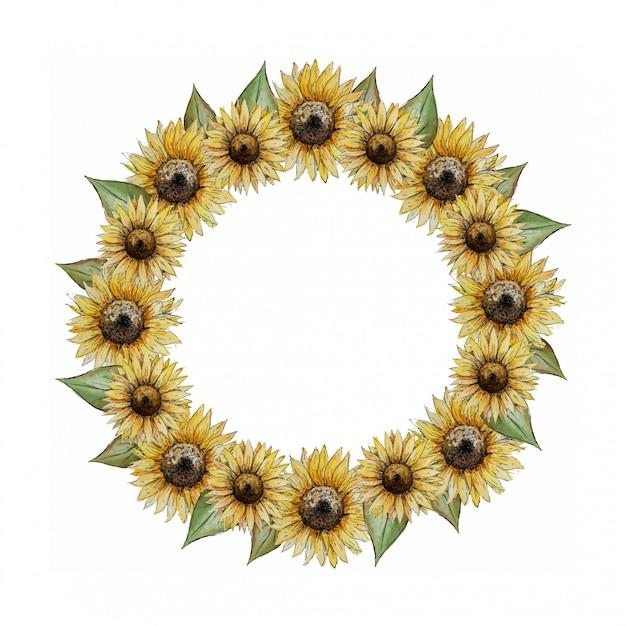 Coroa de flores em aquarela redonda com girassóis amarelos Vetor Premium