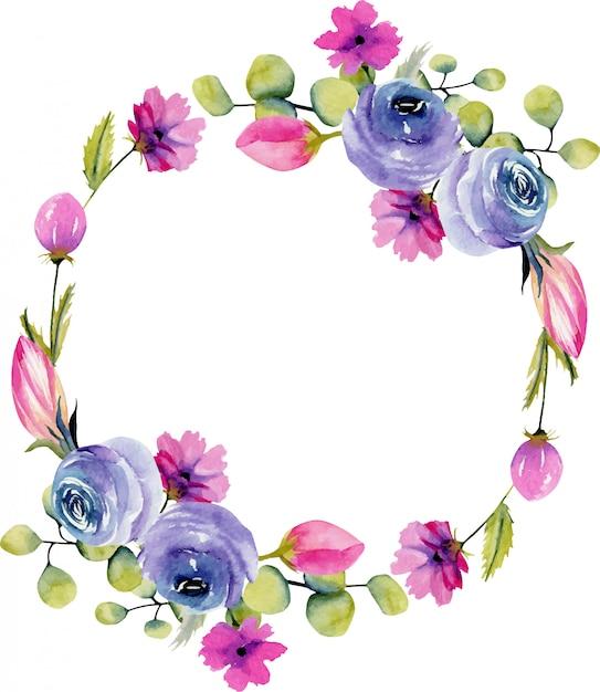 Coroa de flores em aquarela rosas azuis e plantas de campo de primavera pintados à mão sobre um fundo branco Vetor Premium