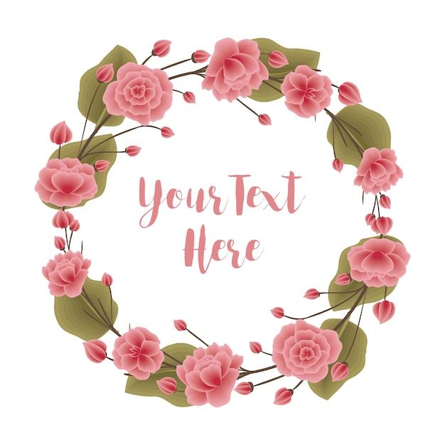 Coroa de flores rosa e verde Vetor Premium