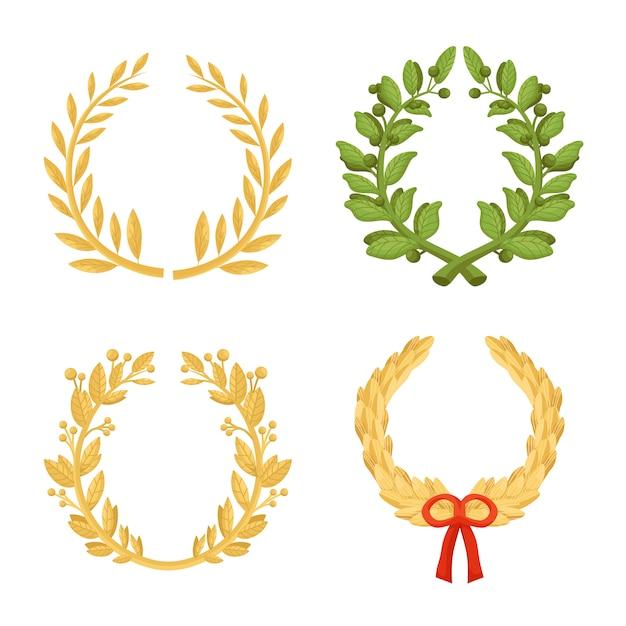Coroa De Folhas De Louro Conjunto De Icones Dos Desenhos Animados
