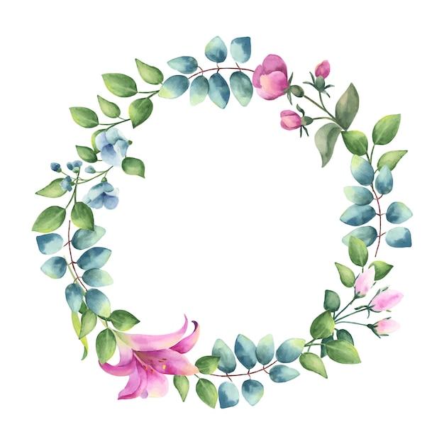 Coroa de folhas e flores. Vetor Premium