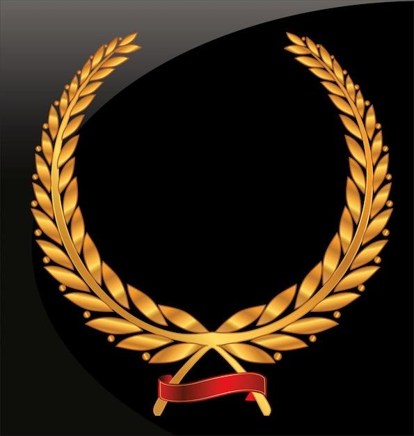 Coroa de louros com conjunto de fita vermelha Vetor Premium