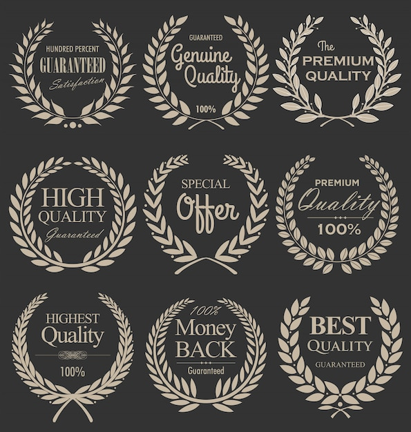 Coroa de louros de qualidade premium, conjunto Vetor Premium