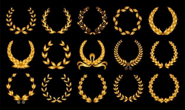 Coroa de louros dourada. coleção de diferentes coroas de louro circular preto, azeitona, trigo, representando um prêmio, conquista, heráldica, nobreza. insígnia premium, símbolo de vitória tradicional. Vetor Premium