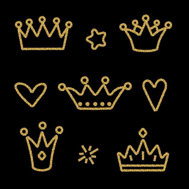Coroa de ouro definida em preto Vetor Premium