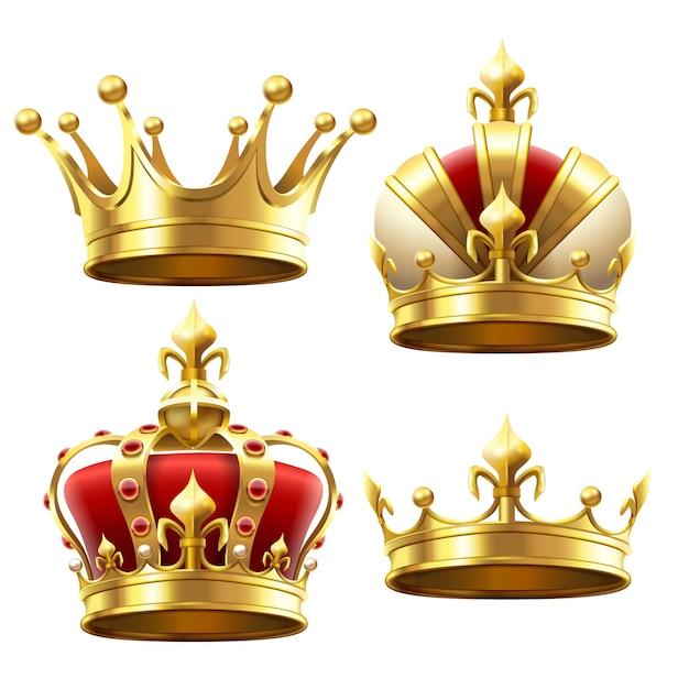 Coroa de ouro realista Vetor Premium