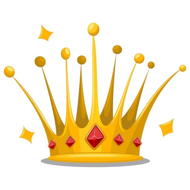 Coroa de princesa de ouro com pedras preciosas jóias vermelhas Vetor Premium