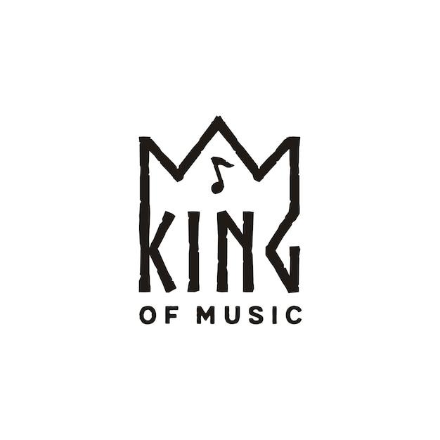Coroa de rei com design de logotipo de nota de música Vetor Premium