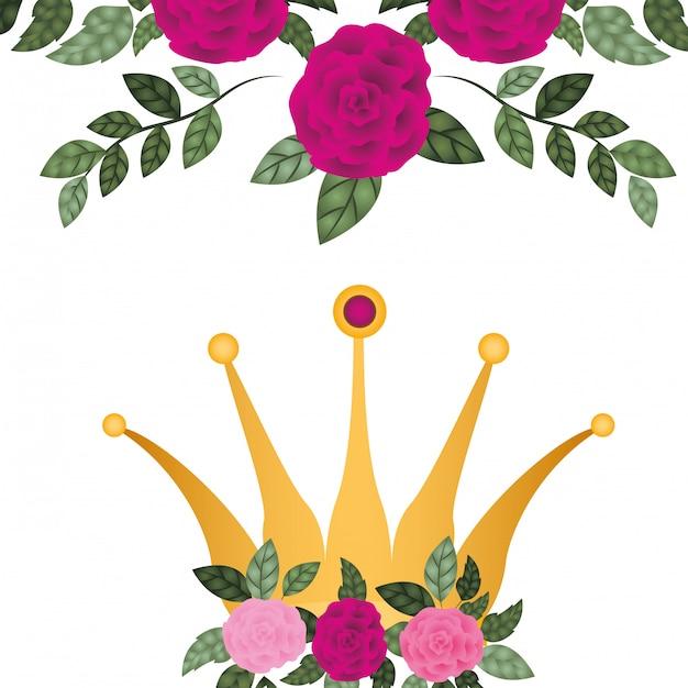 Coroa dourada, com, rosas, isolado, ícone Vetor Premium