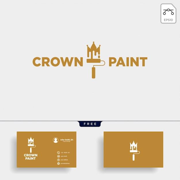 Coroa pincel colorido logotipo modelo vector elemento ícone Vetor Premium
