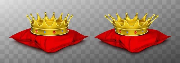 Coroa real de ouro para rei e rainha no travesseiro vermelho Vetor grátis
