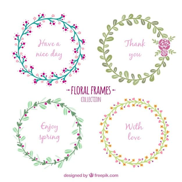 Coroas de flores delicadas com mensagem Vetor grátis