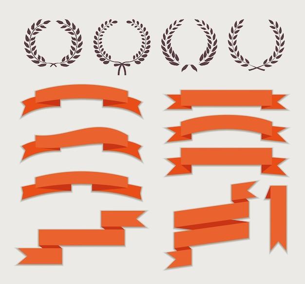 Coroas e fitas para banner definido em estilo simples Vetor grátis