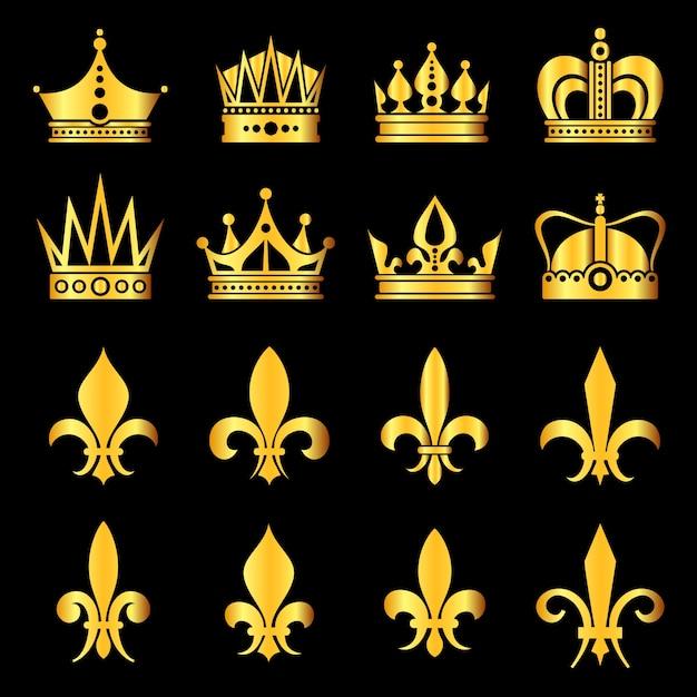 Coroas em ouro preto Vetor Premium