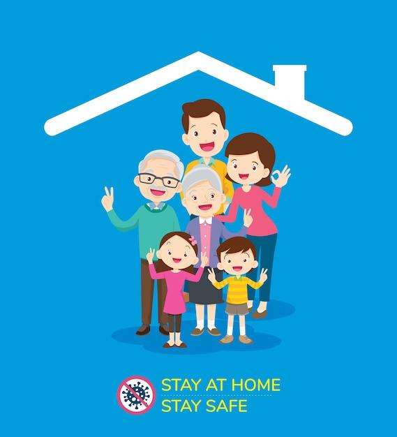 Coronavírus campanha para ficar em casa. Vetor Premium