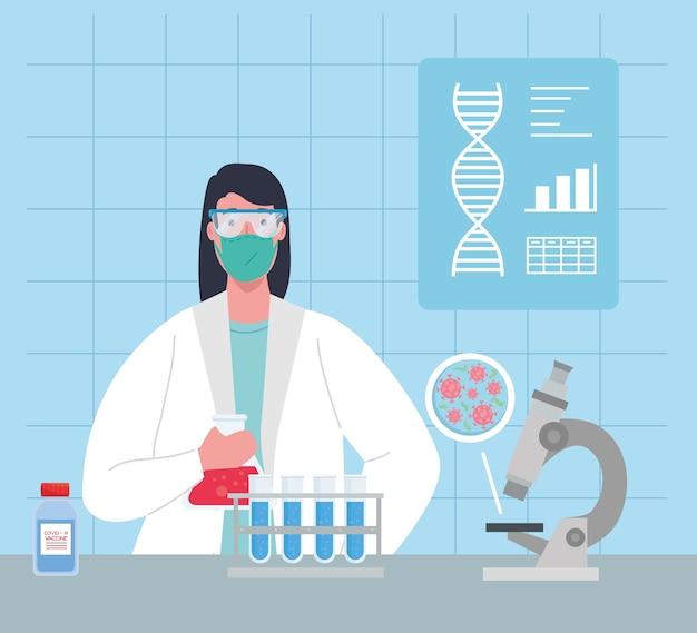 Coronavírus de pesquisa de vacina médica, médica em laboratório para pesquisa de vacina médica e microbiologia educacional para ilustração de covid19 Vetor Premium