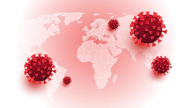 Coronavírus. fundo horizontal com doenças celulares e mapa do mundo Vetor Premium