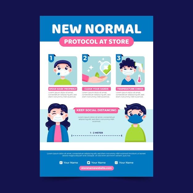 Coronavirus novo modelo de flyer normal Vetor Premium