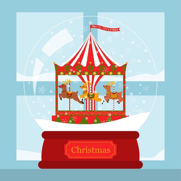 Corousel de rena de cartão de natal em um globo de neve perto da janela Vetor Premium
