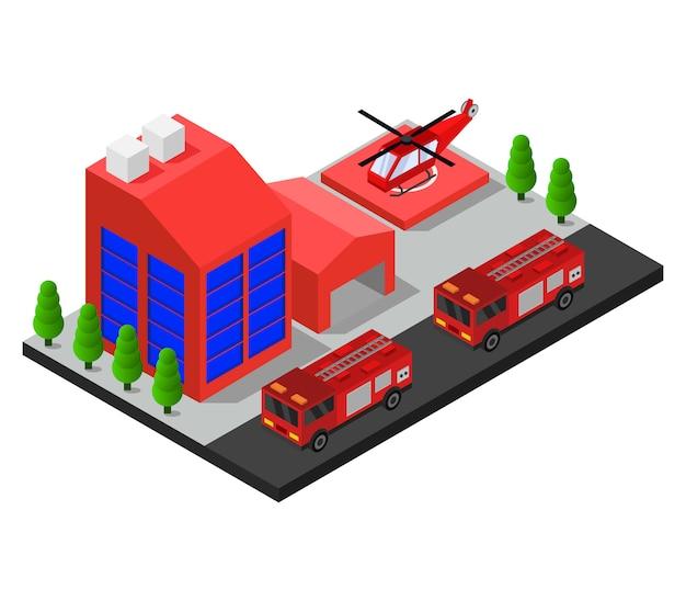 Corpo de bombeiros isométrico Vetor grátis
