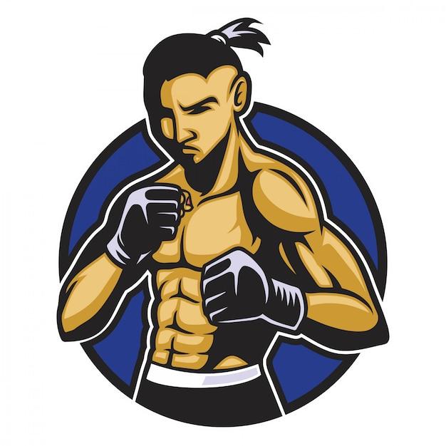 Corpo muscular do lutador de boxe Vetor Premium