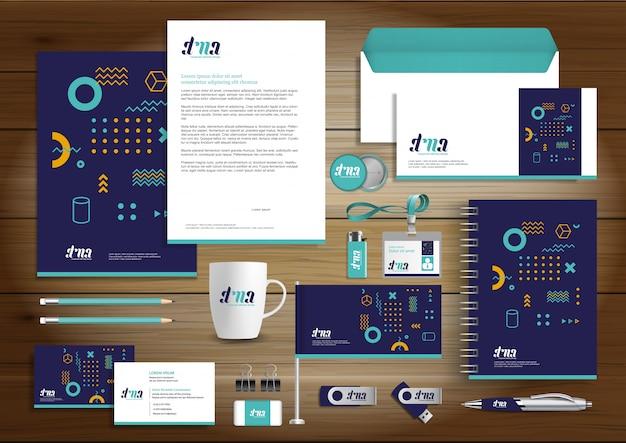 Corporate business identity design artigos de papelaria do vetor Vetor Premium