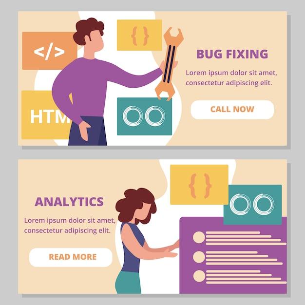 Correção de bugs e conjunto de banners horizontais do analytics Vetor Premium
