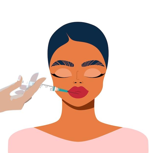 Correção labial com preenchimento. rosto feminino e mão segurando a seringa. indústria de beleza e conceito de injeção. injeções labiais. procedimento de correção de rosto. enchedores de lábios. Vetor Premium