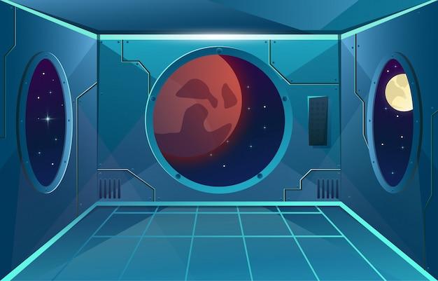 Corredor com grande vigia na nave espacial. lua e marte planeta na viewport. sala interior futurista para jogos Vetor Premium