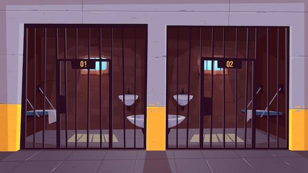 Corredor da prisão com duas únicas pilhas vazias atrás dos desenhos animados das barras de aço. Vetor grátis