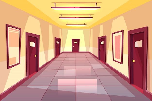 Corredor dos desenhos animados, corredor com muitas portas - faculdade, universidade ou prédio de escritórios. Vetor grátis