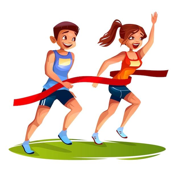 Corredores, ligado, meta, linha, ilustração, de, homem jovem, e, mulher, ligado, maratona esporte Vetor grátis