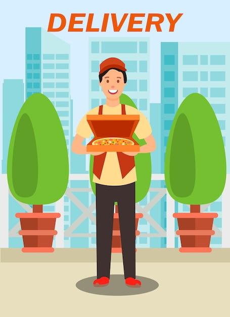 Correio transportando pizza box vector illustration Vetor Premium