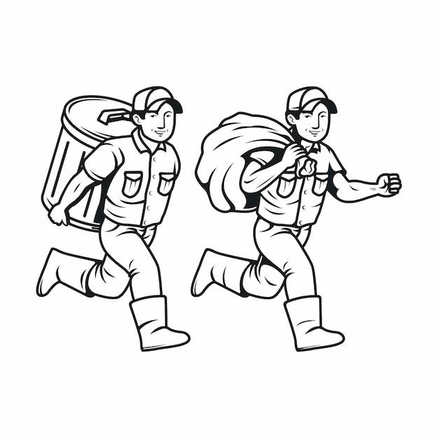 Correndo com a lixeira, personagem de homem lixo em preto e branco Vetor Premium