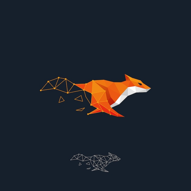 Correndo o conceito do fox color design Vetor Premium