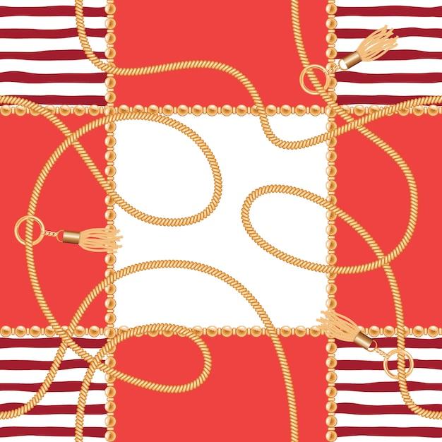 Correntes, borlas, cordas, marinho, seamless, padrão Vetor Premium
