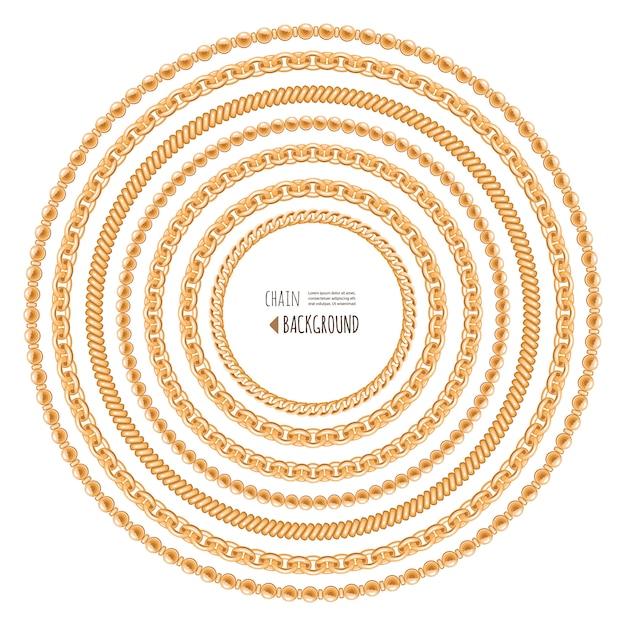 Correntes de ouro redondo modelo de quadro isolado no branco. Vetor Premium