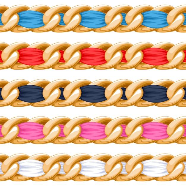 Correntes douradas com escova colorida de fita de tecido roscado. bom para colar, pulseira, acessório de joalheria. Vetor Premium