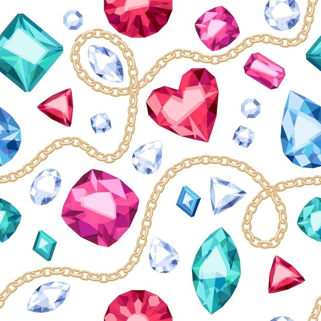 Correntes douradas e padrão sem emenda de gemas coloridas no fundo branco. ilustração de esmeraldas de rubis de diamantes variados. bom para luxo de cartaz de banner de cartão de capa. Vetor Premium