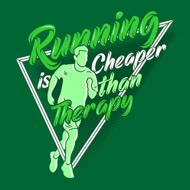 Correr é mais barato que terapia dizendo aspas. executando ditos e citações Vetor Premium