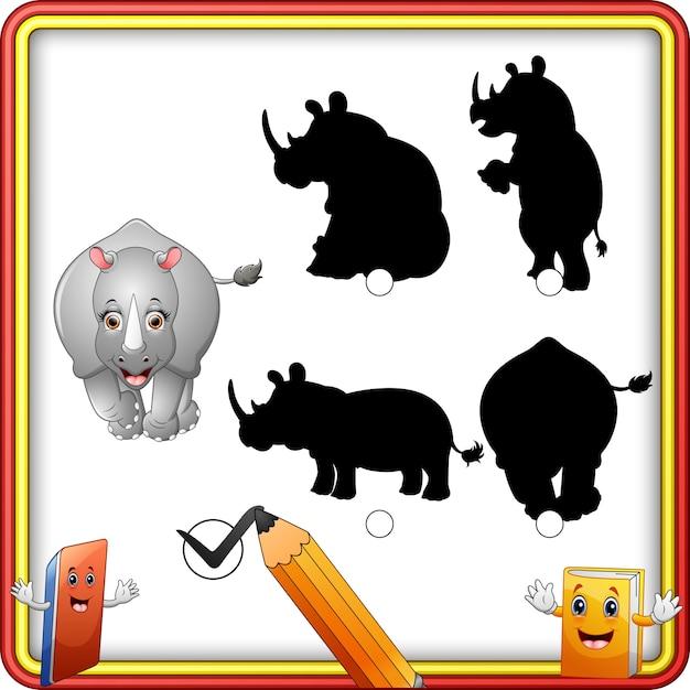 Correspondência de sombra do jogo de rinoceronte Vetor Premium