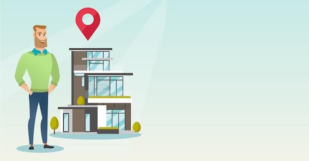 Corretor de imóveis na casa ao ar livre com o ponteiro do mapa. copyspace Vetor Premium